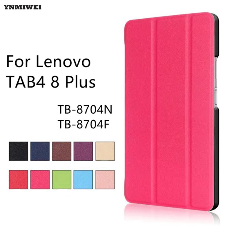 Case For Lenovo TAB4 8 Plus Tri-Fold Slim Stand Case Cover For Lenovo TAB 4 8 Plus TB-8704N TB-8704F Auto Sleep Tablet Case new design high quality pu leather sleeve bag case for lenovo tab4 8 plus tb 8704f tb 8704n tablet pouch stand cover