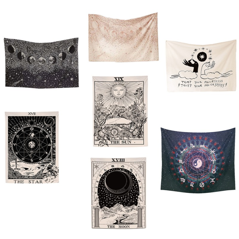 Wall Hanging Tarot Tapestry The Moon The Star Tapestry Polyester Fabric Tapestries Blanket Bedspread Beach Towels Picnic Mat|Tapestry| |  - title=