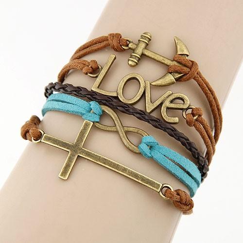 Leather Charm Bracelet - love mixed 3