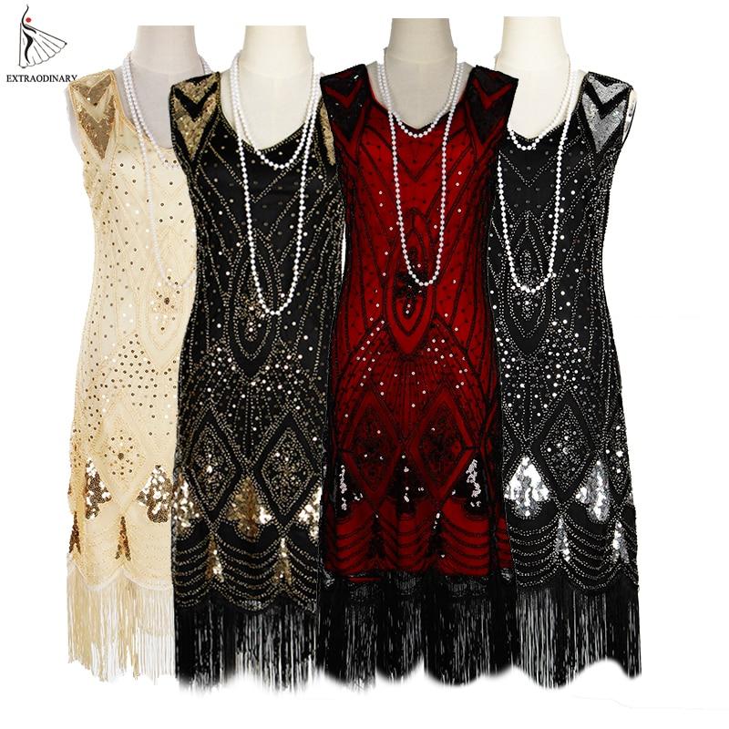 Women 1920s Great Gastby Sequin Art Deco Double Flapper Dresses Vintage V Neck Party Dress Embellished Fringed Summer Sleeveless