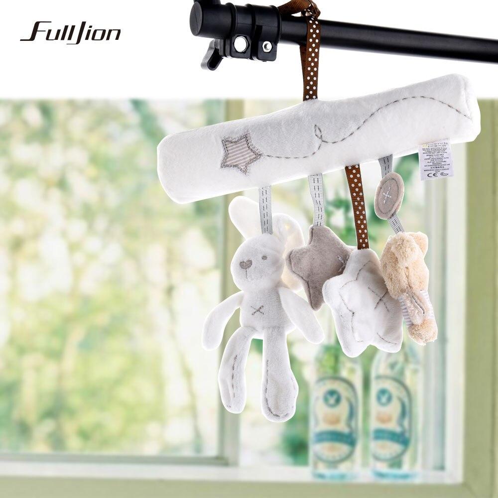 Fulljion ребенка погремушка кролик Игрушечные лошадки музыка куклы кровать колокол для коляски младенца Многофункциональный колокольчик плюшевые образовательные мобильный Игрушечные лошадки