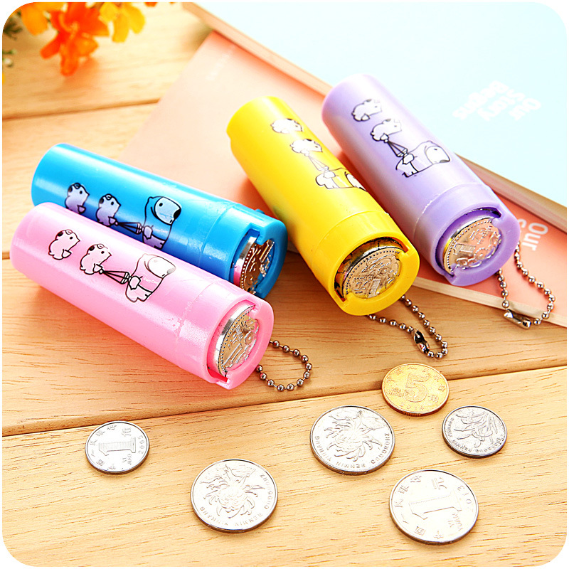 1pcs cartoon plastic piggy bank coin holder portable purse Coin sorting bank for kids
