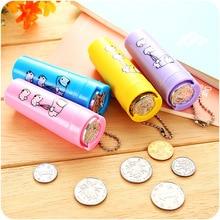 1Pcs Cartoon Plastic Piggy Bank Coin Holder Portable Purse 8.5x3x2.5cm Round Money Box Change Organizer Tube Saving box for kids