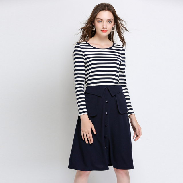 Women's Sets Autumn Winter Striped Tops and Skirt Two Piece Set Plus Size 2018 Woman Casual Top Long Sleeve Shirt and Skirts Set