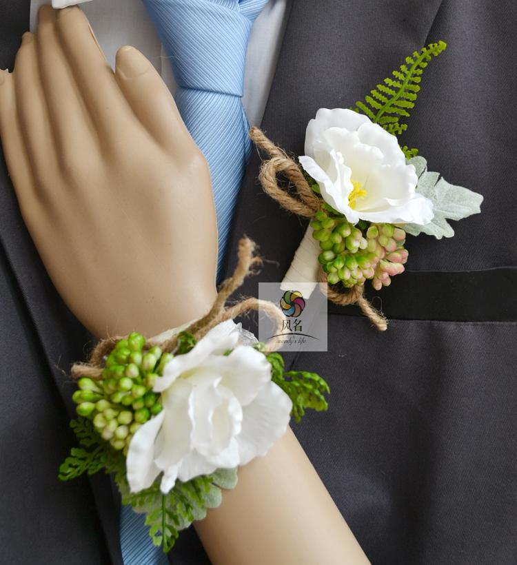 popular white wedding corsages and boutonnieresbuy cheap white, Natural flower