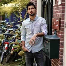 SIMWOOD 2018 Brand Casual Shirts Men Slim Fit Autumn New Denim Shirt Male Stripes Cotton Plus Size High Quality CC017026
