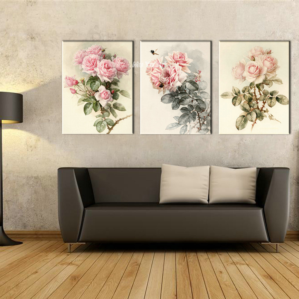 Triptych Canvas Prints Modern Girly Flower Painting Set Supplier Printed Rose Art Wall Picture
