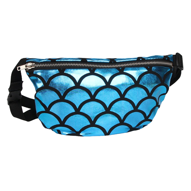 Shiny Fish Scale Waist Bag Fanny Pack Women Makeup Pouch Crossbody Shoulder Bag