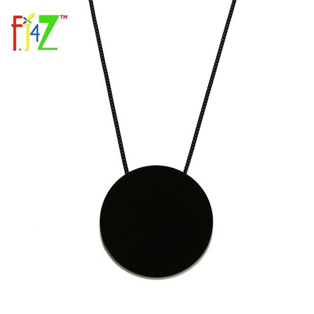 F.J4Z 2017 Designer Necklace Fashion Trendy Big Black White Acrylic Circle Long