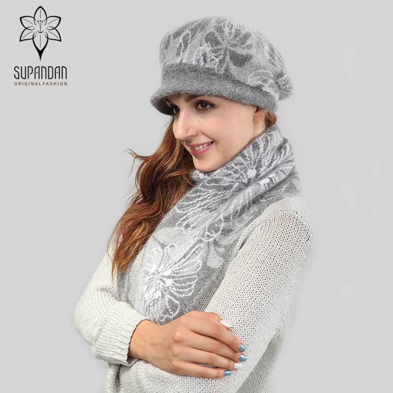 SUPANDAN Soft Fashion Knitted Berets Hat Scarf Set Women Thick Hats For Girls Winter Warm Long Scarves Hats Christmas Gift 8466P