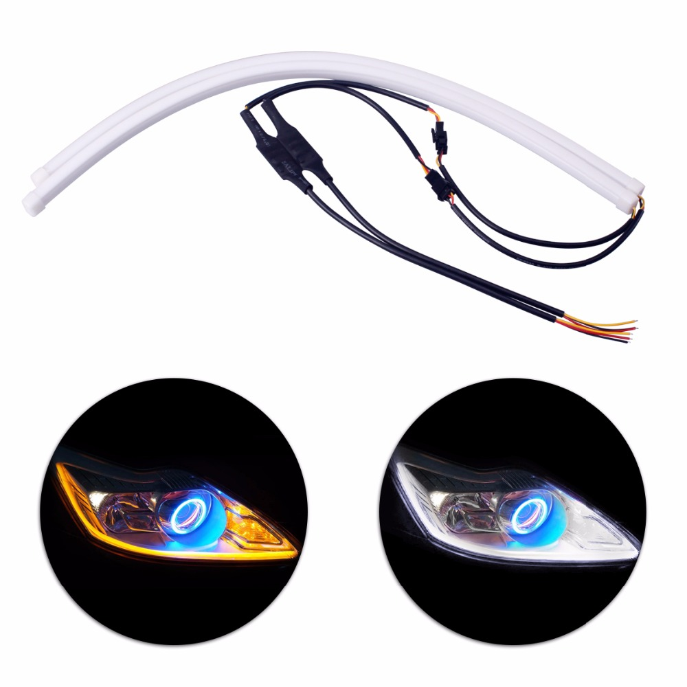 2 x Car-styling 45cm Daytime Running Light DRL Universal Flexible Soft Tube Guide Car LED Strip White & Yellow Turn Signal Light 2pcs 12v car drl led daytime running light flexible tube strip style tear strip car led bar headlight turn signal light parking