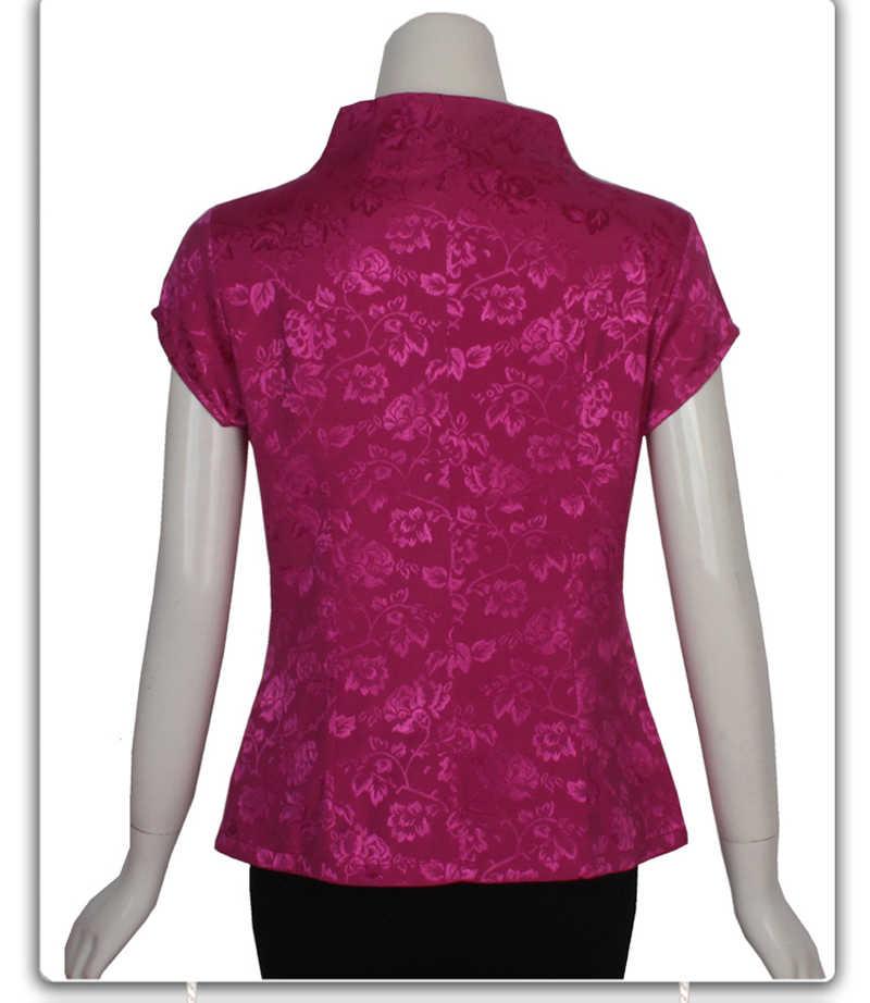 Musim Semi Musim Panas Tradisional Cina Katun Bordir Blus Wanita Bunga Baju Ukuran M L XL XXL XXXL 4XL 080301