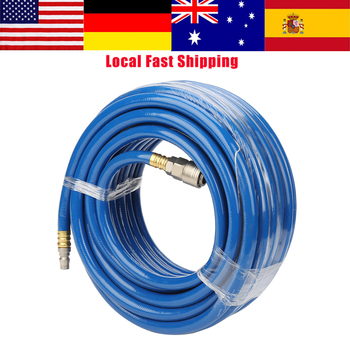 цена на 15M Blue Flexible Pneumatic PVC Hose with Quick Connector for Air Compressor