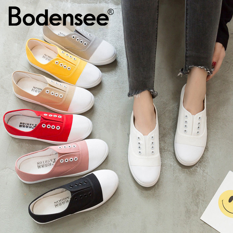 BODENSEE Women Flat Sneakers Women Vulcanized Sneakers Breathable Flat Casual Slip On Woman Spring And Autumn Canvas Shoes