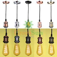 GreenSun Candy Color 5Pcs E27 Aluminum Retro Screw Bulb Base Pendant Light Holder Set Ceiling Rose Light Socket With 1.35M Cable(China)