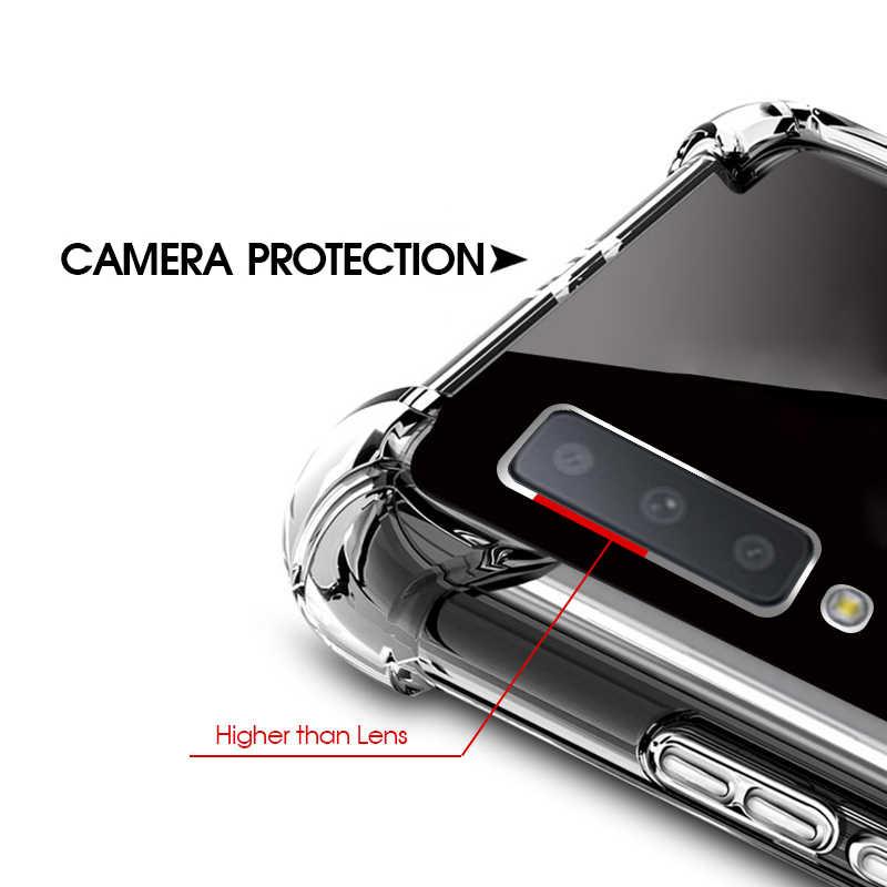 غطاء شفاف حقيبة لهاتف سامسونج غالاكسي J4 J6 زائد A6 A8 A9 A7 A750 2018 A6S J3 J5 J7 2017 S8 S9 زائد ملاحظة 8 واضح غطاء قذيفة