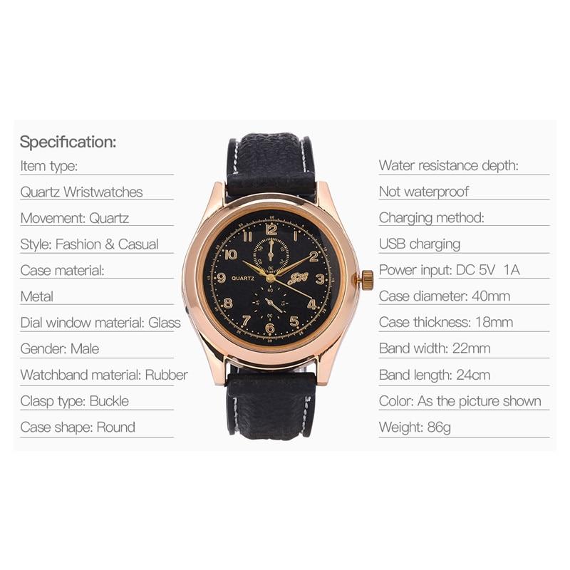 7201fa5a1b8 CkeyiN Recarregável Militar Cigarro USB Mais Leve Relógios Relógio ...