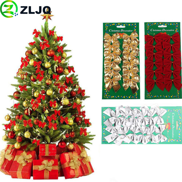 ZLJQ 12pcs/pack Bowknot Christmas Tree Ornaments Party Decorations Xmas Home Supplies Festival Event Decor Gifts 6J