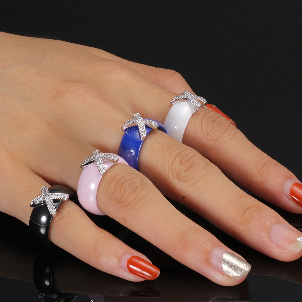 Fashion Jewelry Women Ring With AAA Crystal 8 mm X Cross Ceramic Rings For Women Wedding Party Accessories Gift Design 2