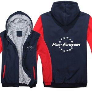 Image 4 - Pan europejskiej bluzy z kapturem męskie zimowy zamek błyskawiczny płaszcz z polaru zagęścić Pan europejski bluza z kapturem ciepła kurtka