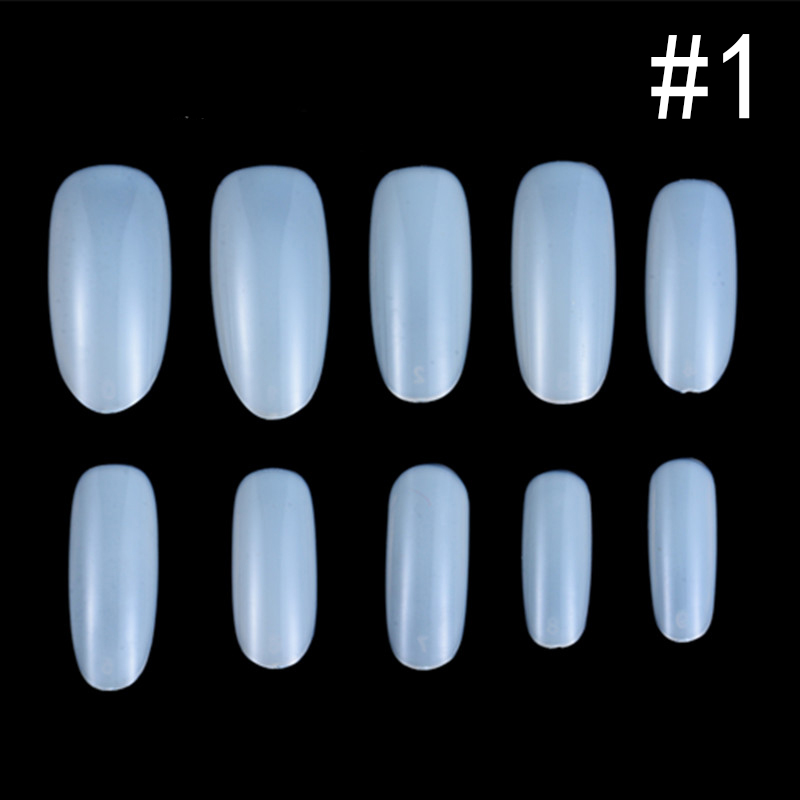 500pcs Beauty Oval Fake Nails Tips False Nails Full well 10 Size ...