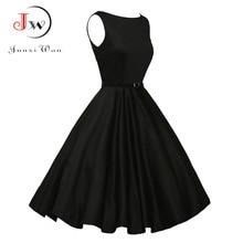 Lato Plus rozmiar sukienka kobiety czerwony czarny Vintage Audrey Hepbum 50s sukienka Rockabilly Retro damskie suknie na imprezę
