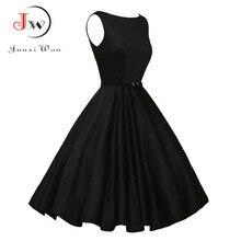 Zomer Plus Size Jurk Vrouwen Rood Zwart Vintage Audrey Hepbum 50S Rockabilly Gewaad Retro Party Feminino Vestidos