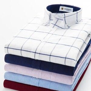 Image 2 - Męska bawełniana koszula z długimi rękawami, Oxford, sukienka w kratę, przednia kieszeń, wysokiej jakości, eleganckie, codzienne, dopasowane koszule z guzikami
