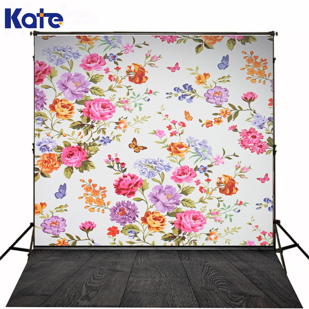 Kate Photography Backdrops Colorful Flowers Background Wood Floor  Backgrounds For Photo Studio For Children kate wood photography microfiber background christmas theme snowman photographic backdrops for children studio photo props