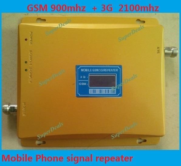Высокое качество Dual Band 65dBi 3 Г GSM Мобильный Телефон Сигнал Повторителя 900 мГц/2100 мГц Booster Усилитель Extender