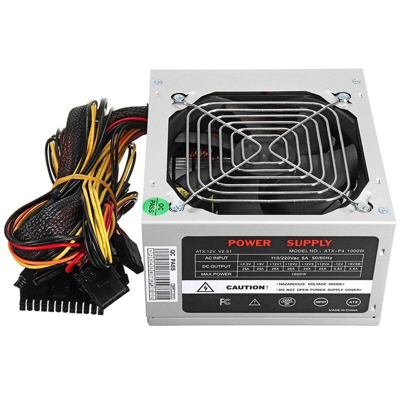 Ev Aletleri'ten Fanlar'de Max 1000W atx güç kaynağı sessiz Fan Intel Amd Pc Psu Pc bilgisayar madenci abd Plug title=