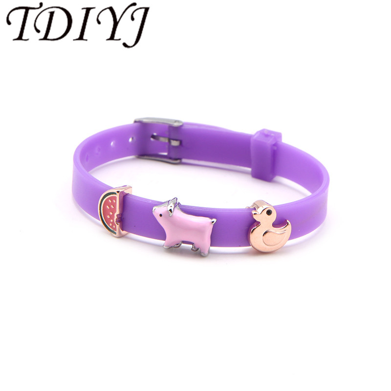 TDIYJ Keeper Purple 8MM Silicone Bracelet Summer Pink Pig Duck Children Personalized DIY Keeper Slide Charms 1Set