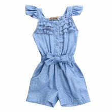 2016 SPRING Summer US Style Girl Jumpsuit Cute Sweet Fashion Washed Jeans Denim Romper Jumpsuits Straps Short Pants Cowboy Blue(China)