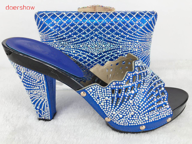 doershow 2017 New matching italian shoes and bag set royal blue color open toe heels african shoes and bag set Hlu1-23 new arrival doershow italian shoe with matching bags african shoe and bag set for party in women italian shoes with bag hlu1 48