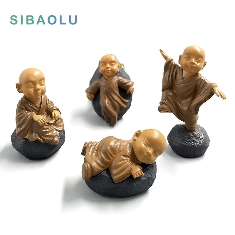 Feng shui resina buda estátua monges estatuetas de fadas em miniatura bonsai jardim decoração para casa acessórios decoração kawaii brinquedos de escritório