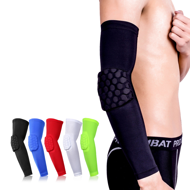Sports Safety 1pc Basketball Arm Sleeve Honeycomb Armband Elbow Support Arm Sleeve Breathable Football Safety Sport Elbow Pad Brace Protector Arm Warmers