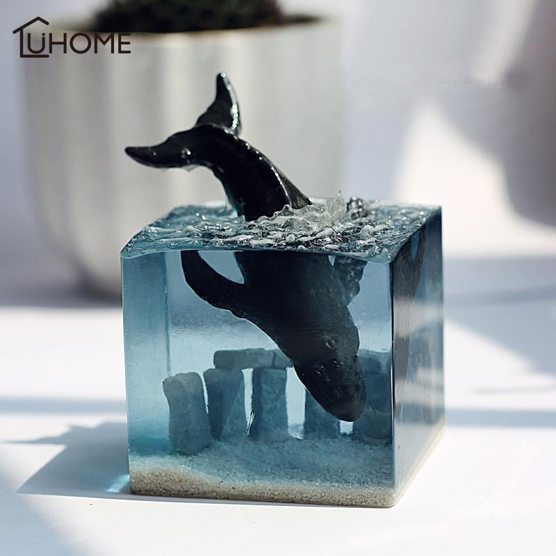 Moderne résine Figurines créatif lumineux océan baleine salon ornement ameublement décoration artisanat bureau accessoires