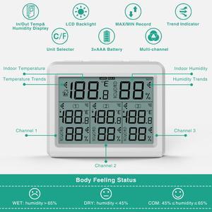 Image 2 - ORIA מדדי לחות מדחום דיגיטלי LCD מדחום מקורה חיצוני אלחוטי חיישן טמפרטורת לחות צג שלט רחוק