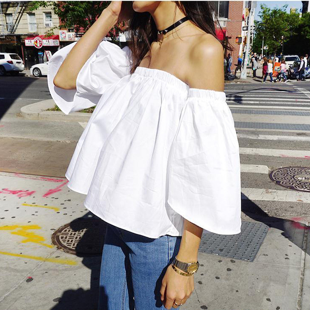 025065b9727cea Summer 2016 Sexy off shoulder white blouse shirt Ruffles slash neck cotton  girls blouse Women tube tops tees short casual blusas