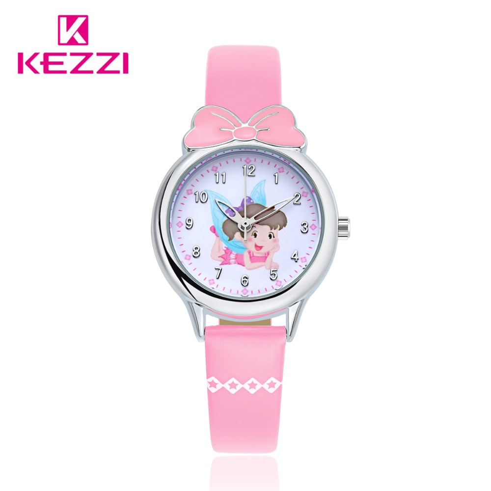 Kezzi Brand Cartoon Children Watches Kids Waterproof Quartz Watch For Girls Student Leather Strap Watches Cute Princess Clock mo cartoon children watches fashion girl bear pattern kids waterproof watch cute student leather strap wrist watch relogio