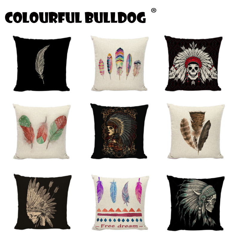 Native American Indian Skull Cushion Cover Pillow Case Linen Indian Owl Throw Pillow Cases Cover Owl teepee tent Home Decoration