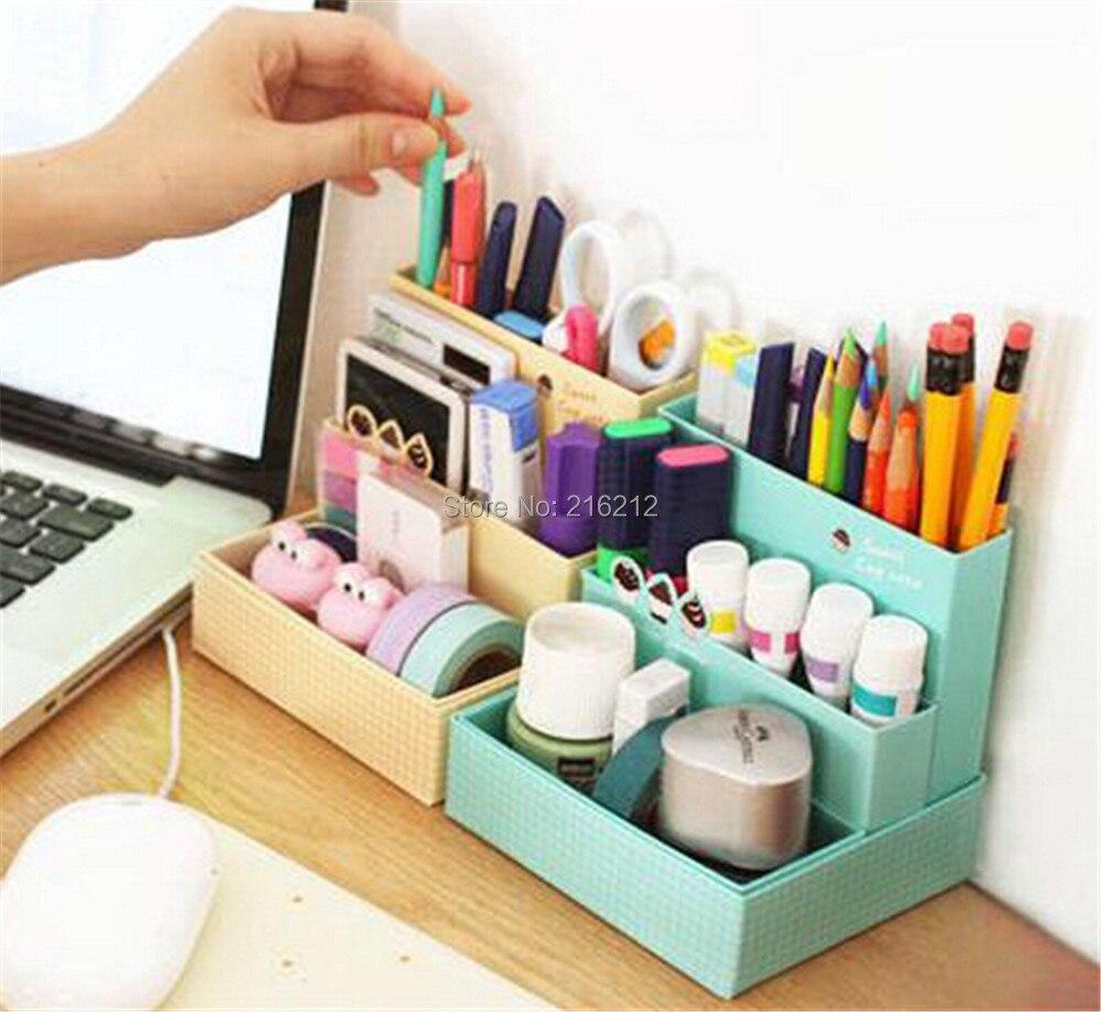 Diyの紙ボード収納ボックスデスクインテリア文房具メイクアップ化粧品オーガナイザー(China (
