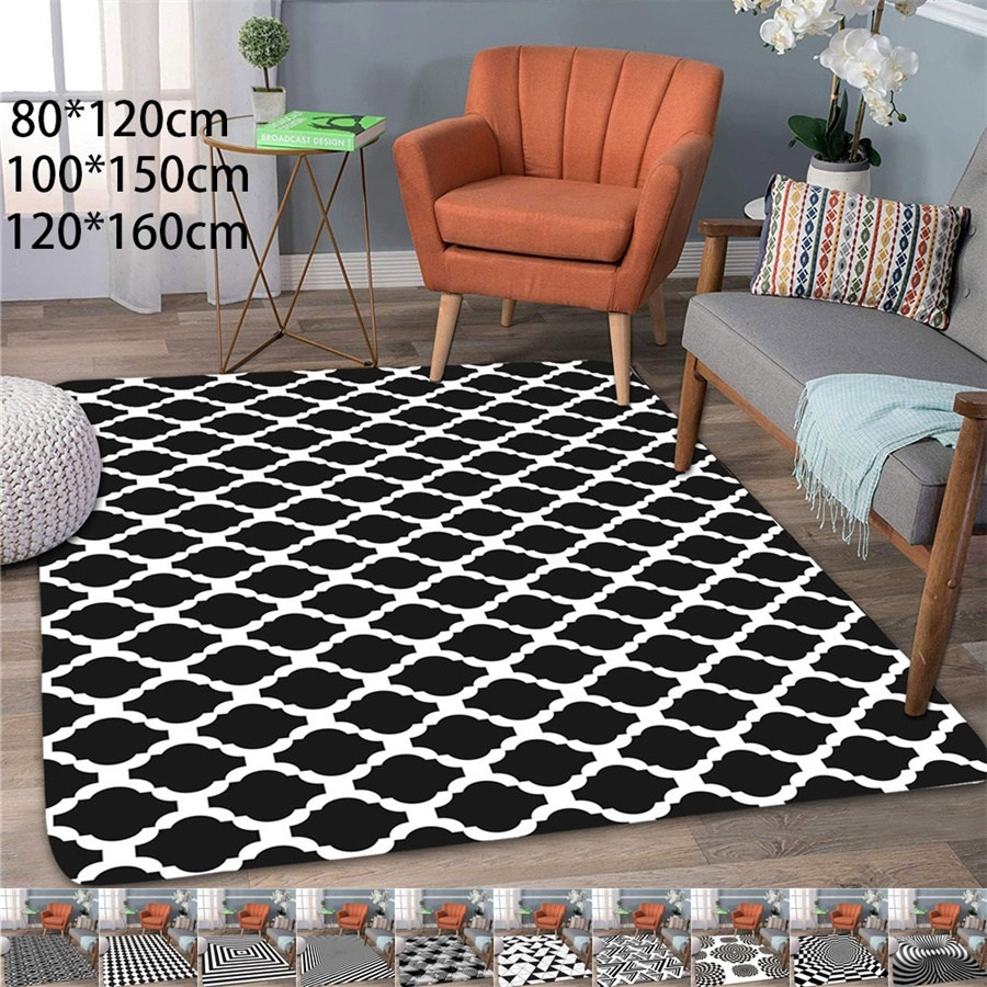 Modern Absorbent Abstract Geometric Area Rug Coral Velvet Floor Rug Doormat Baby Playing Carpets For Living Room Indoor Bedroom