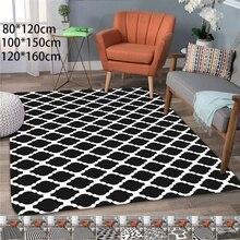Modern Absorbent Abstract Geometric Area Rug Coral Velvet Floor Rug Doormat Baby Playing Carpets for Living Room Indoor Bedroom