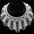 Fashion Women chain Imitation pearls necklace sweet braided lace collar necklace wedding party jewelry Valentine's Day Gift