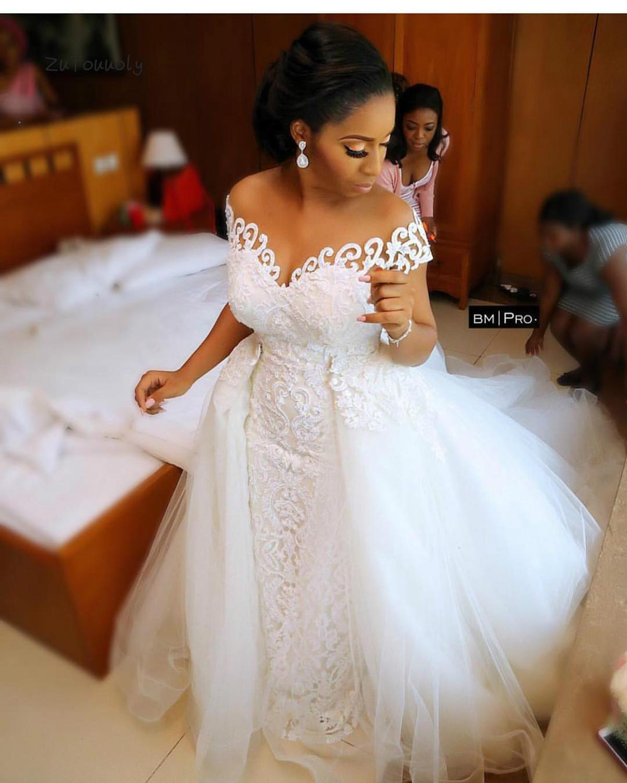 Dubai Arabic Wedding Dresses Detachable Train African Wedding Dress Mermaid Convertible 2 In 1  Lace Country Wedding Dress 2019