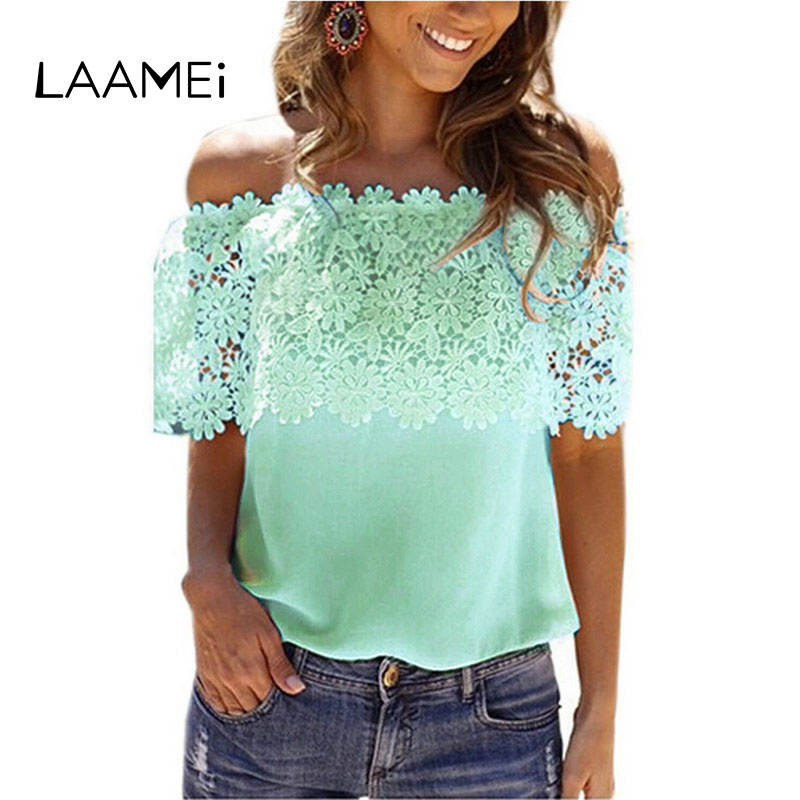 Laamei с плеча футболки Для женщин короткий рукав летний топ большой Размеры Slim Fit Футболка 2018 кружева лоскутное однотонные футболки женские