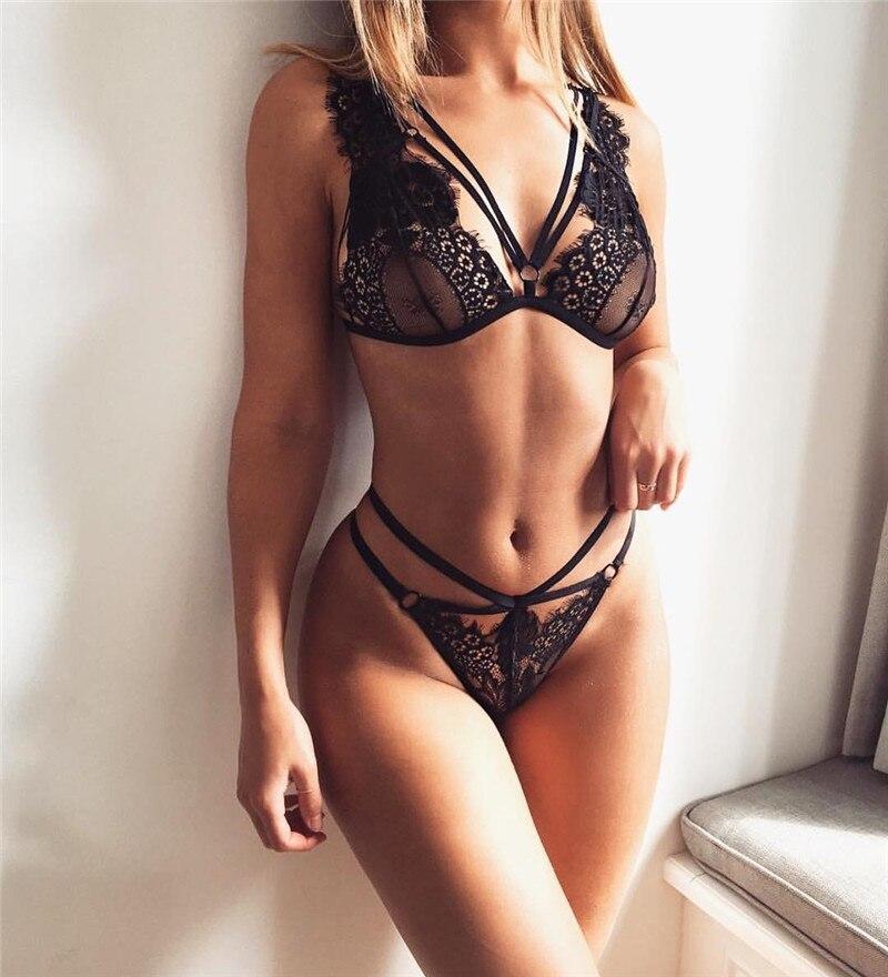 JUVA 2018 Sexy Eyelash Lace Bralette   Sets   Women's Lingerie Big Size Bralette Panties   Set   Bandage Strappy   Bra   &   Brief     Sets