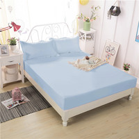 Small Fresh Blue Sky Elegant And Comfortable Beautiful Polyester Fiber Pure Color Bedding Three Sets Fitted
