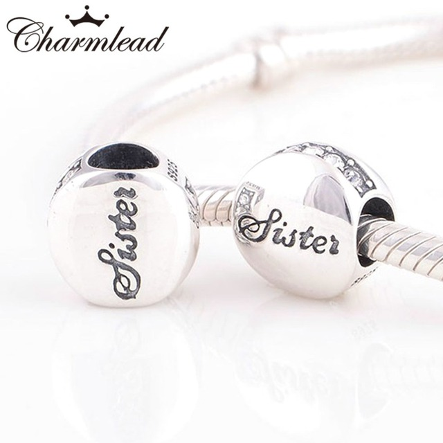 Charmlead Fits Pandora Charms Bracelet 925 Sterling Silver Sister Love Letter Charm Beads Diy Bracelets Necklaces